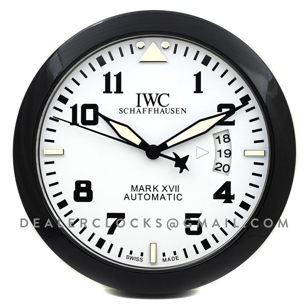 IWC Portofino Automatic Moon Phase wall clock stainless steel and alligator clock